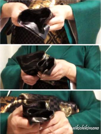 "Fold the ""tesaki"" into five equal pleats"