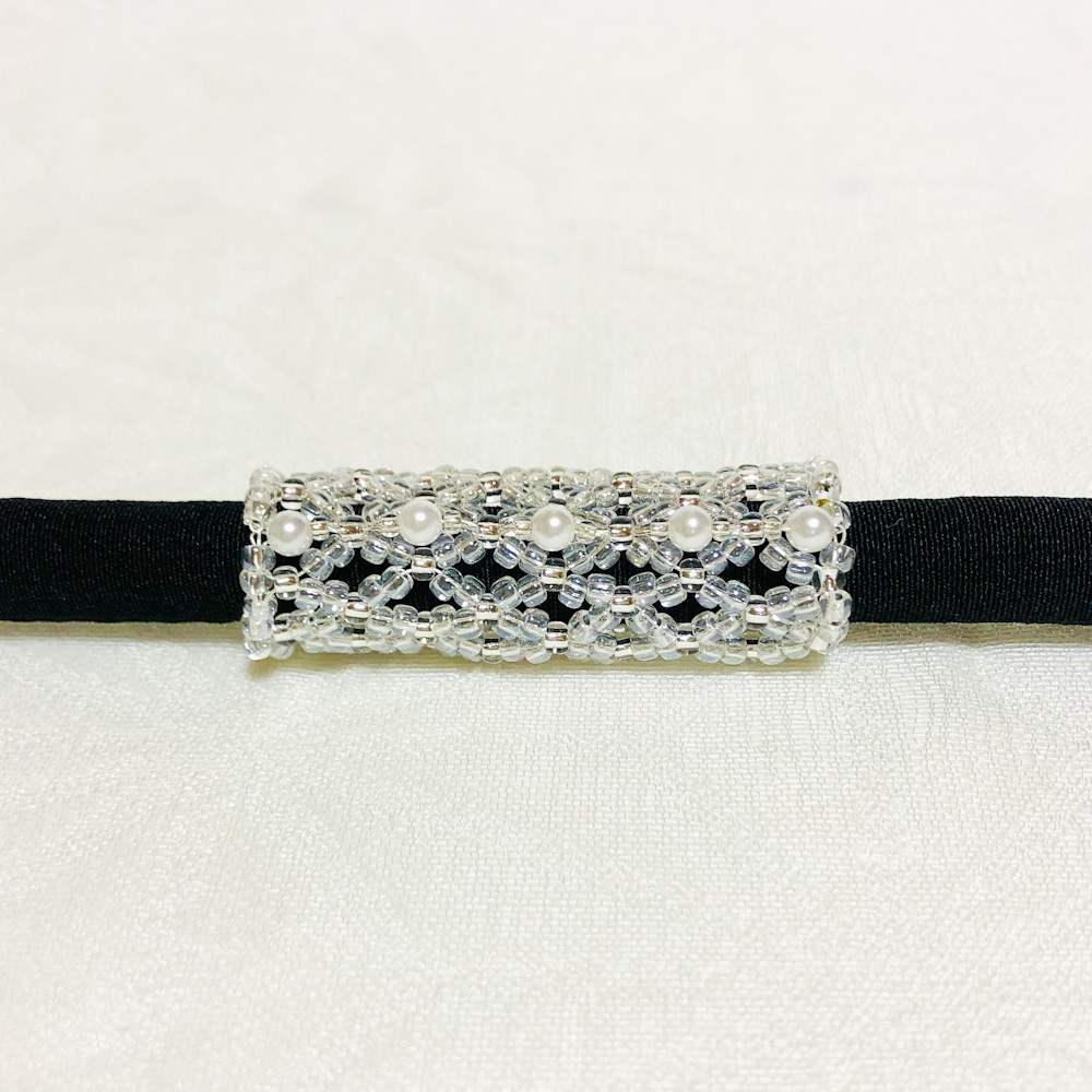 Obidome : neutral color beaded tubes / crystal